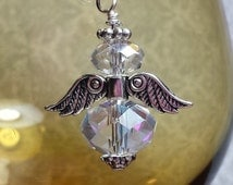 Crystal Angel Charm for Memory locket chains, Floating locket Chains, Charm bracelet Chains, Zipper pull, Backpack Charm, Purse Charm