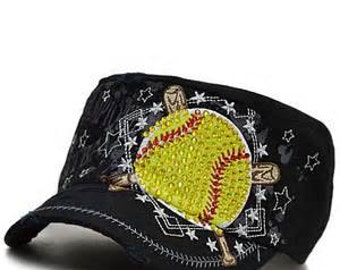 Softball Black and Yellow Blinged Rhinestone Cadet Hat... Perfect Cap for any Fastpitch Player, mom or Team Mom...  Great gift...
