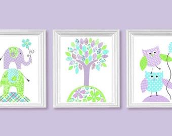 Girl's Room Decor, Aqua Lime Green Light Purple Lilac Lavender, Girl's Nursery Art, Elephants, Owls, Tree, Cute Nursery Art, Set of 3 Prints