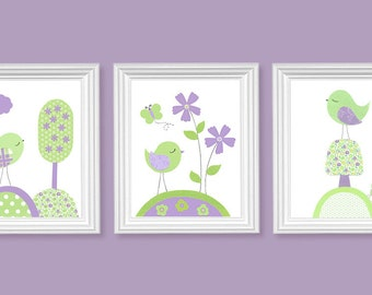 Girl's Room Decor Bird Nursery Art Flower Nursery Print Baby Shower Gift Green and Purple Nursery Art Kids Decor Set of Three Prints