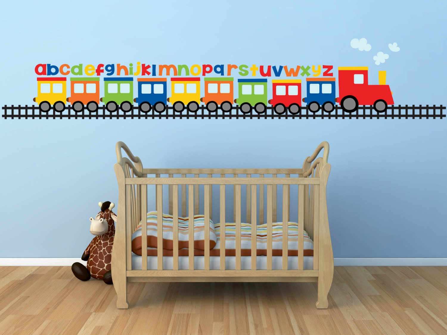 Baby boy room decor stickers - Train Wall Decal Alphabet Decal Abc Wall Decal