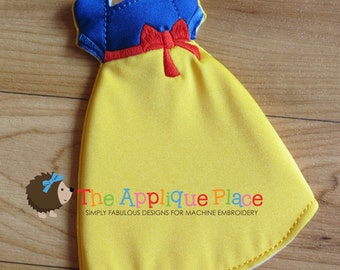 Snow White Gown PATTERN for Dolls * Cloth doll Clothing * In The Hoop * ITH Machine Embroidery Pattern / Design with Tutorial