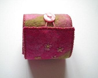 Felt Cuff, Textile Bracelet, Handmade Felt, Lined, Embellished, Button & Loop Fastening, OOAK, UK Seller
