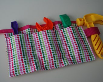 Child's Tool Belt - Remix Dots Green and Pink