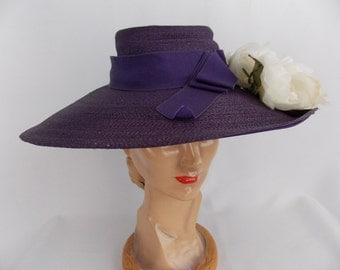 SALE** 1950's Wide Brim Purple Straw Hat Cartwheel Style