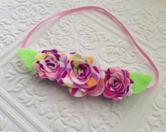 I Felt For You Purple Swirl Flower Trio Headband or Hair Clip