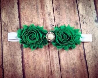 Green Shabby Flower Headband w/ Embellishment