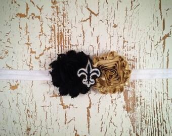 Saints Headband with Felt Center, New Orlean Saints Baby Headband, Girl Saints Headband