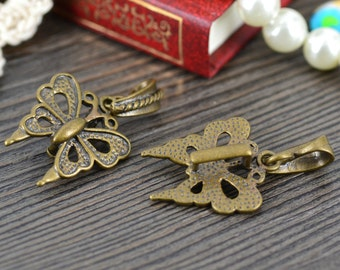 3pcs -Butterfly Bails, Antique Bronze butterfly bails findings, 20mmx24mm  #L1196
