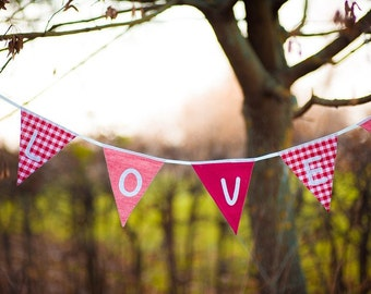 Bunting  Fabric Flags Banner Valentines Red Pink Girls Birthday, Nursery, Bedroom, Wedding, Baby Shower