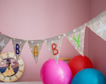 Bunting Fabric Flags Banner colorful Girls Birthday Nursery Bedroom Wedding Baby Shower