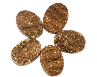 12x8mm Pretty Grade AA 1 Piece Gold Oval Chalcedony Druzy Cabochon B132DR0335