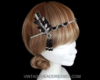Black Great Gatsby Headpiece, Black Art Deco Headpiece, Silver, Vintage, Flapper Headpiece, 1920's Art Deco Black & Diamante Headband, Ball