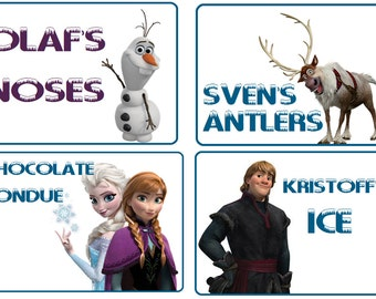 Frozen Birthday Party Food Signs Digital Download- Printable