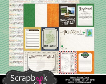 Ireland Journal Cards. Digital Scrapbooking. Project Life. Instant Download.