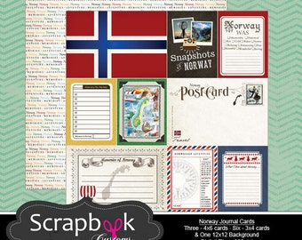 Norway Journal Cards. Digital Scrapbooking. Project Life. Instant Download.