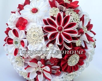 "Fabric Wedding Bouquet, Brooch bouquet ""Garnet""  Red, White"