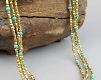 4mm Turquoise Beaded Multi Strand Necklace with Brass Bead