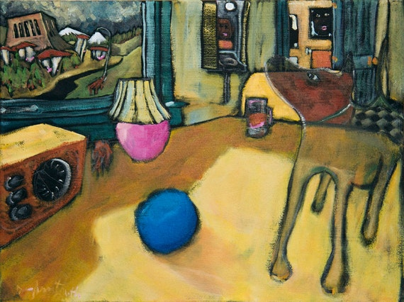 """Dog and Blue Ball 18""""x24""""- Original Painting by Douglass Truth"""