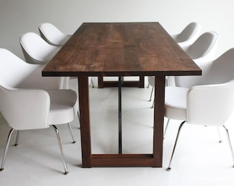 wood table, wood dining table, harvest table, wood furniture, walnut table, walnut dining table, walnut furniture, desk