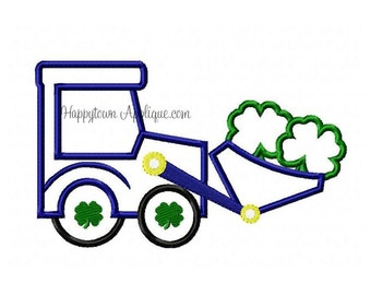 Tractor with Shamrocks Machine Embroidery Design