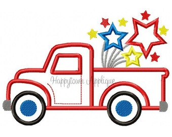 Fourth of July Truck Machine Embroidery Design