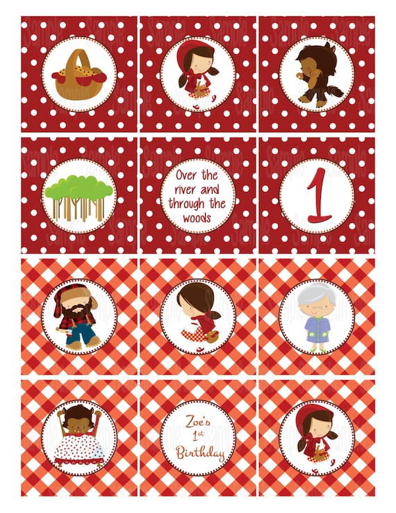 Printable Little Red Riding Hood Cupcake Toppers