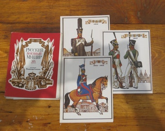 "Set of 32 Vintage Soviet Cards Print ""Russian military uniform of the 19th century"" - Scrapbooking Embellishments Collage Art Gift Tags"