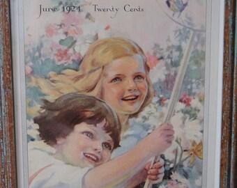 Framed Pastel Art Painting, Girls Chasing Butterflies, 1924 Modern Priscilla Magazine Cover, Girl's Room Nursery Art, Bon Ami Advertisement