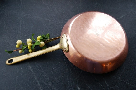 Vintage French Copper Saute Pan Bazar By Cobblestonesvintage