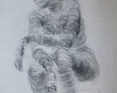 SPIRAL GIRL Art Students League original 1940's Dorothy Messenger figure drawing,on large sketch pad paper