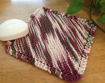 Dishcloth Maroon and Green Multicolor 100% Cotton Yarn Handknit Kitchen Dishcloth or Bathroom Washcloth