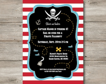 Pirate Invitation with Editable Text to Print at Home, DIY Pirate Invite, Instant Download