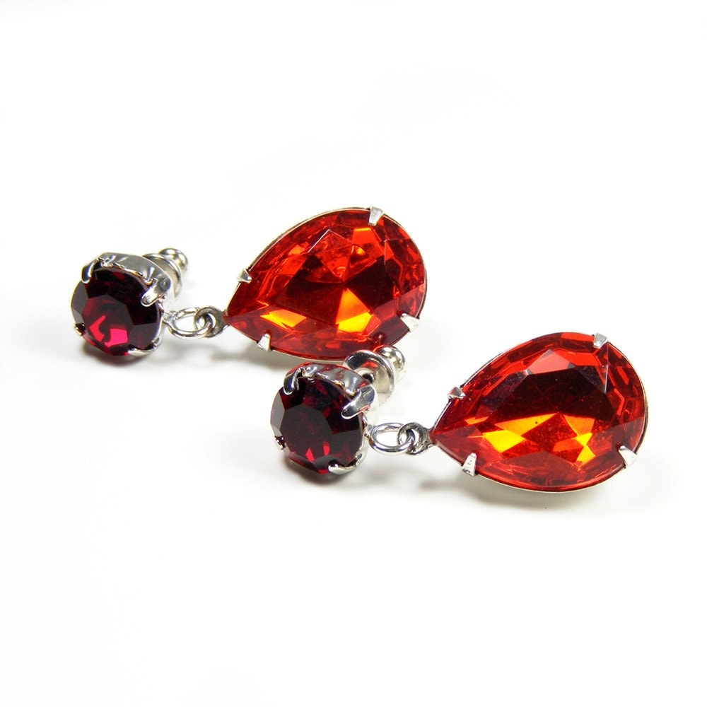 Bright Red Dangle Earrings, Old Hollywood Style Runway Statement Jewelry with Vintage Crystals Rhinestones