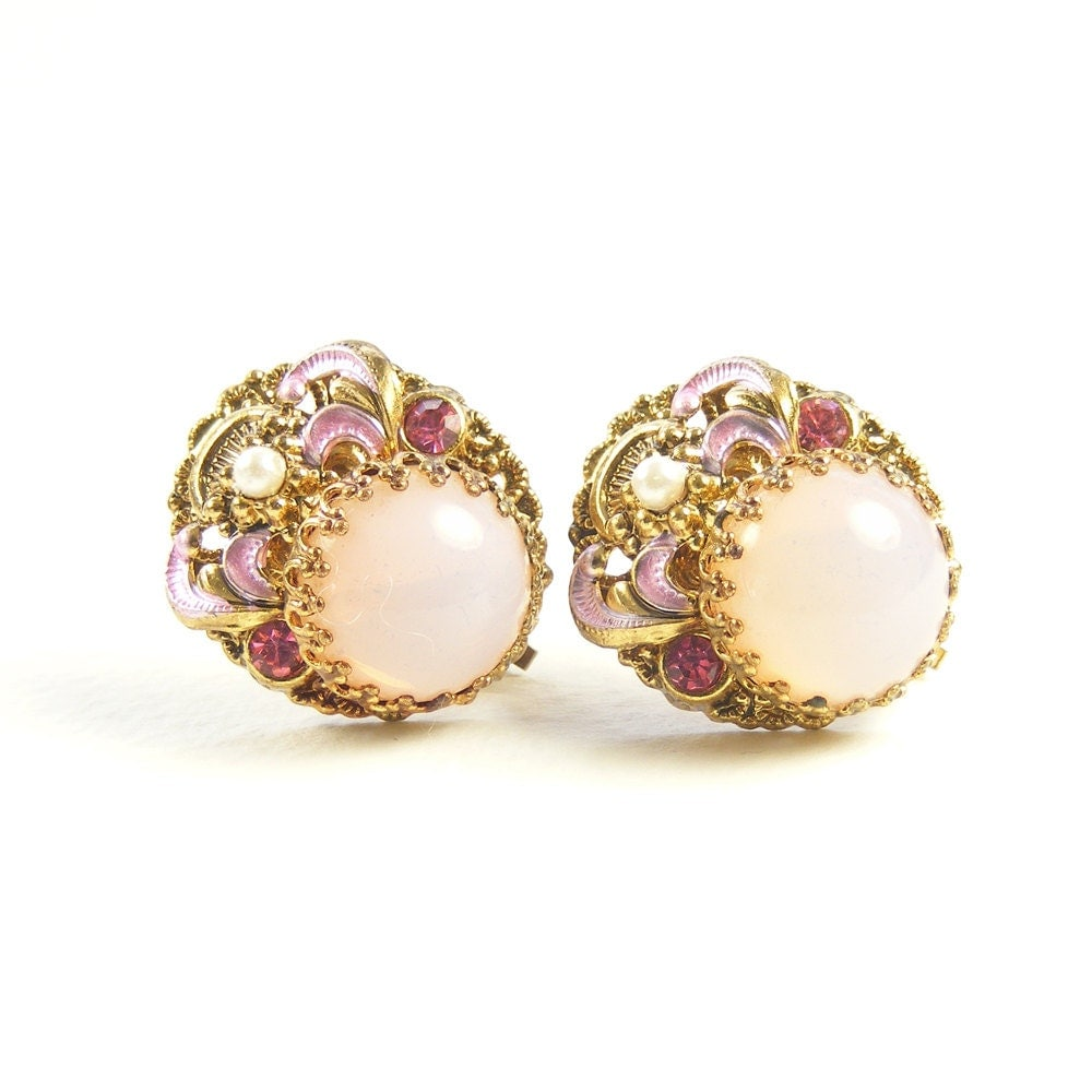 Victorian Revival Earrings, Pink Opaline Vintage Clip Earrings, W Germany, Estate Jewelry