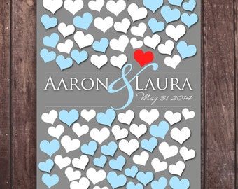 Wedding Dimensional Guestbook Poster | Engagement Gift | Bridal | Dark Gray Personalized | 90 Guest Sign In 13x19 | BRIDAL GIFT POSTER _01