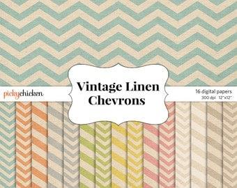 Linen chevron digital scrapbook paper - burlap textured fabric teal orange green yellow gray photography backdrop Instant Download 8044