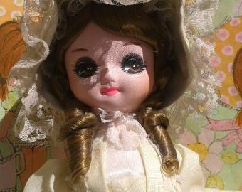 Bradley Vintage Collectible Doll 1970's Midcentury Kitsch in Yellow Dress/Bonnet, white shoes