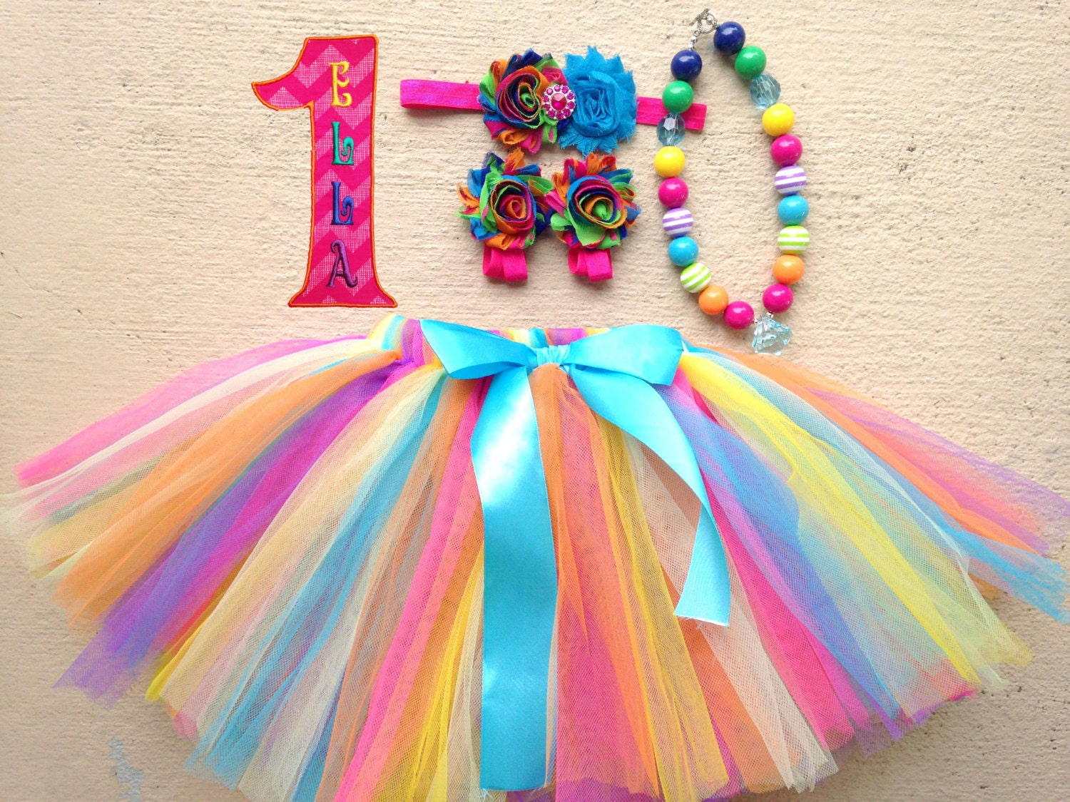Rainbow Baby Girl 1st Birthday Outfit SAVE 15% on Complete