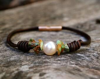 Turquoise Ocean Pearl bracelet (brown)