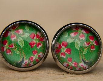 Green Earrings, Floral Earrings, Red Flowers, Glass Dome Earrings, Small Studs, Green Studs, Green and Red, Stud Earrings, Post Earrings