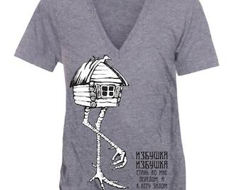 Baba Yaga Cabin on Chicken Legs  T-Shirt - Gray V-Neck