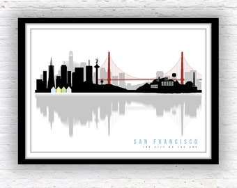 SAN FRANCISCO art, San Francisco skyline, Minimalist city scape, wall decor, poster, San Francisco print