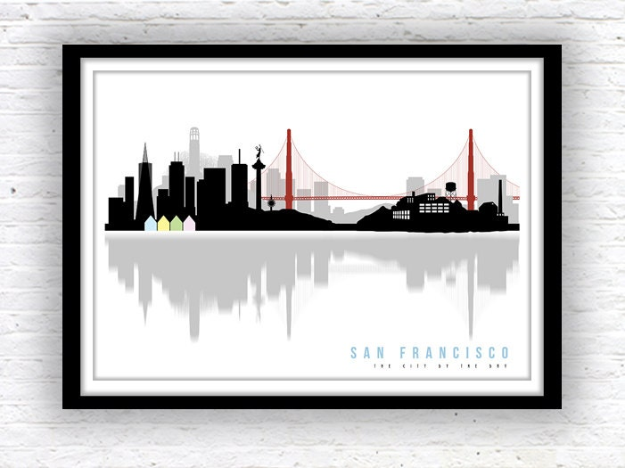 SAN FRANCISCO art, San Francisco skyline, Minimalist city scape, wall  decor, poster, San Francisco print