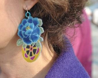 Fabric earrings in Japanese cotton, jewellery patterned Peony earrings flower chic bohemian style