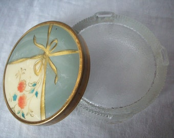Vintage Footed Glass Powder Jar with Celluloid-Like Top on Metal Lid