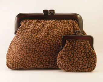 1970s Brown Velvet Clutch Bag & Purse Set