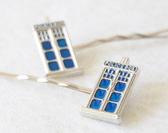 Tardis Bobby Pin Set / Tardis Hair Clip / Set of 2 Dr. Who Hair Pins / Doctor Who Tardis Bobby Pins / Dr. Who Gift / Tardis Hair Clips
