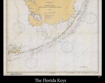 Nautical Map of the Florida Keys - 1933
