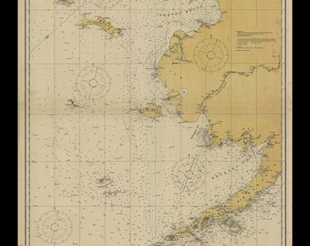 Nautical Map of the Bering Sea - 1923